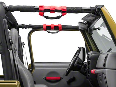 Rugged Ridge Grab Handle Kit - Red (97-06 Jeep Wrangler TJ)