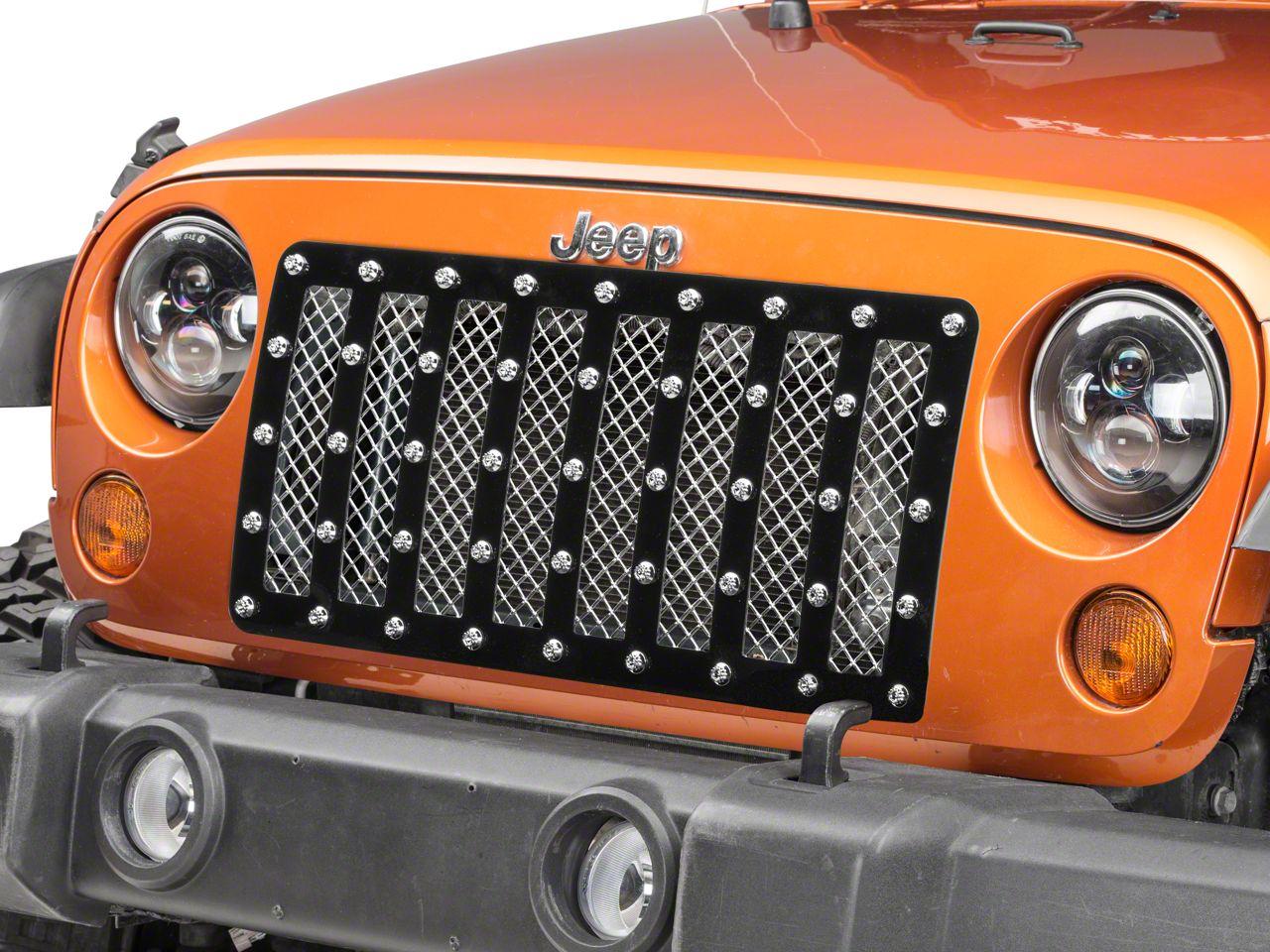 E&G E-Power Vertical Bar Heavy Mesh Grille - Chrome (07-18 Jeep Wrangler JK)