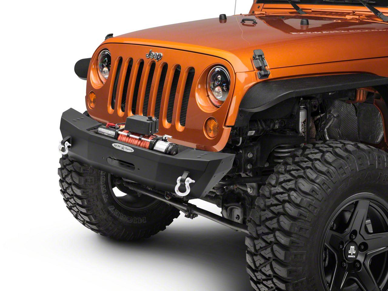 Rock-Slide Engineering Rigid Series Shorty Front Steel Bumper w/ Winch Plate (07-18 Jeep Wrangler JK)