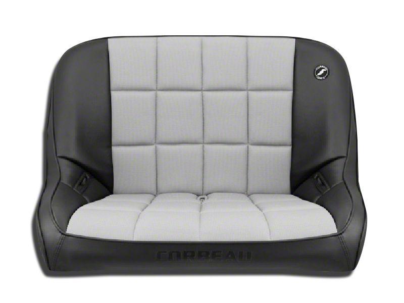 Corbeau 36 in. Baja Bench Suspension Seat - Black Vinyl/Gray Cloth (87-95 Jeep Wrangler YJ)