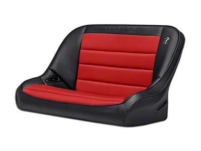 Corbeau 40 in. Baja Bench Suspension Seat - Black Vinyl/Red Cloth (97-06 Jeep Wrangler TJ)