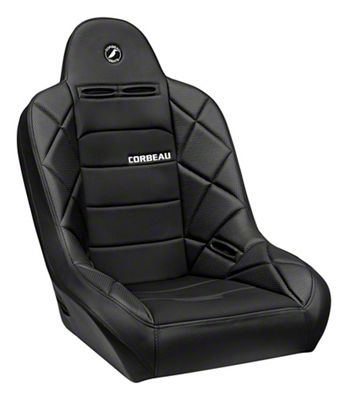 Corbeau Baja JP Suspension Seat - Black Vinyl/Cloth (87-18 Jeep Wrangler YJ, TJ, JK & JL)