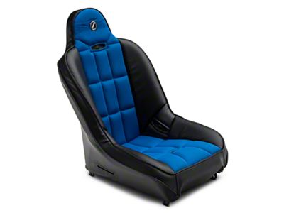 Corbeau Baja SS Suspension Seat - Black Vinyl/Blue Cloth (87-18 Jeep Wrangler YJ, TJ, JK & JL)