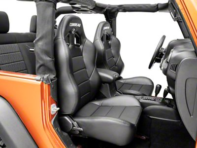 Corbeau Baja XRS Suspension Seat - Black Vinyl/Cloth - Pair (87-18 Jeep Wrangler YJ, TJ & JK; Seat Brackets are Required for TJ & JK Models)