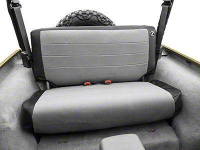 Corbeau Rear Seat Cover - Black Vinyl/Gray Cloth (97-06 Jeep Wrangler TJ)