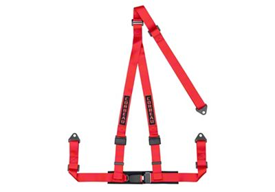 Corbeau 2 in. 3-Point Bolt-In Harness Belt - Red (87-18 Jeep Wrangler YJ, TJ, JK & JL)