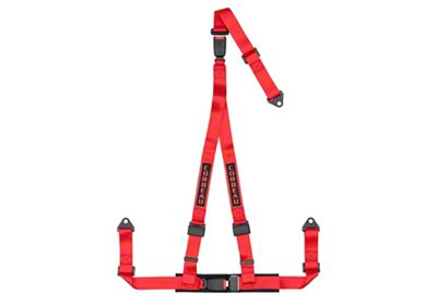 Corbeau 2 in. 3-Point Double Release Bolt-In Harness Belt - Red (87-18 Jeep Wrangler YJ, TJ, JK & JL)