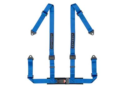 Corbeau 2 in. 4-Point Bolt-In Harness Belt - Blue (87-18 Jeep Wrangler YJ, TJ, JK & JL)