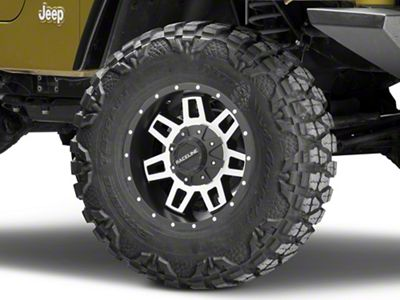 Raceline Injector Black Machined Wheel - 16x8 (87-06 Jeep Wrangler YJ & TJ)