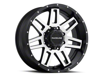 Raceline Injector Black Machined Wheel - 17x8.5 (07-18 Jeep Wrangler JK; 2018 Jeep Wrangler JL)