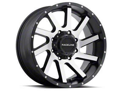 Raceline Twist Black Machined Wheel - 20x12 (07-18 Jeep Wrangler JK; 2018 Jeep Wrangler JL)