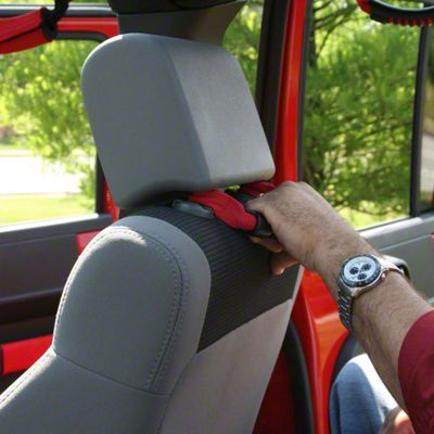 Rugged Ridge Front Headrest Grab Handles - Red (07-18 Jeep Wrangler JK; 2018 Jeep Wrangler JL)