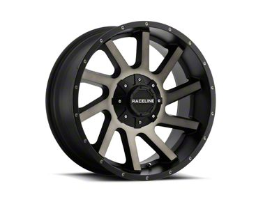 Raceline Twist Black Machined w/ Dark Tint Wheels (07-18 Jeep Wrangler JK; 2018 Jeep Wrangler JL)