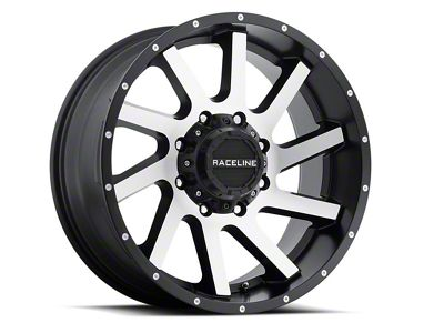 Raceline Twist Black Machined Wheels (07-18 Jeep Wrangler JK; 2018 Jeep Wrangler JL)