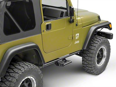 N-Fab Cab Length RKR Side Rails w/ Detachable Steps - Textured Black (97-06 Jeep Wrangler TJ)