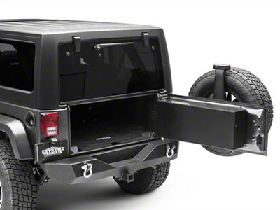 Tailgate Storage Box - Gloss Black (07-18 Jeep Wrangler JK w/o Rear Side Mounted Subwoofer)