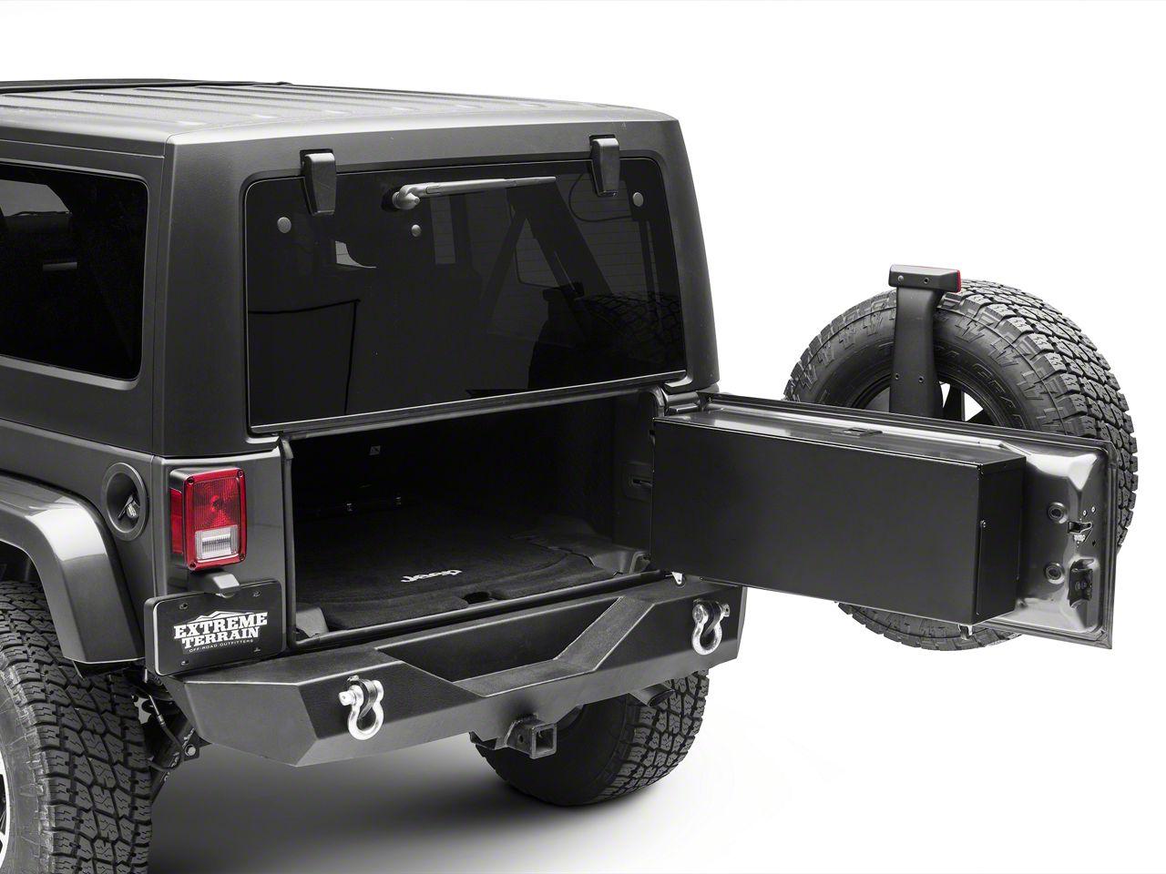 Carrichs Tailgate Storage Box - Gloss Black (07-18 Jeep Wrangler JK w/o Rear Side Mounted Subwoofer)