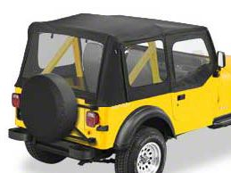 Bestop Replace-A-Top w/ Clear Windows - Black Vinyl (1987 Jeep Wrangler YJ w/ Steel Half Doors)