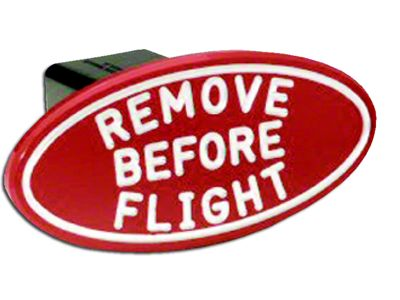 Defenderworx Oval Remove Before Flight Hitch Cover (87-18 Jeep Wrangler YJ, TJ, JK & JL)