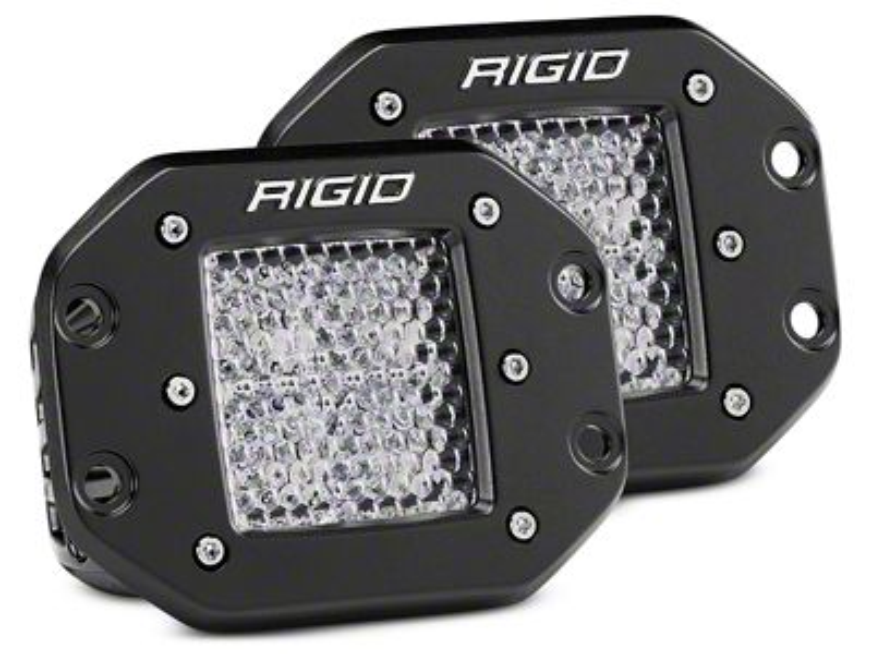 Rigid Industries D-Series Flush Mount LED Cube Lights - 60 Deg. Diffused Beam - Pair
