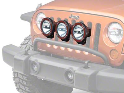 Rugged Ridge 5 in. Round HID Off-Road Fog Lights w/ Black Composite Housings - Set of Three (87-19 Jeep Wrangler YJ, TJ, JK & JL)