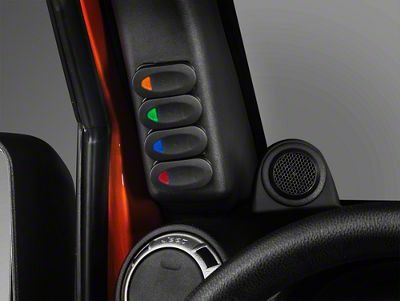 Rugged Ridge Black A-Pillar Switch Pod w/ 4 Rocker Switches - Left Hand Drive (11-18 Jeep Wrangler JK)