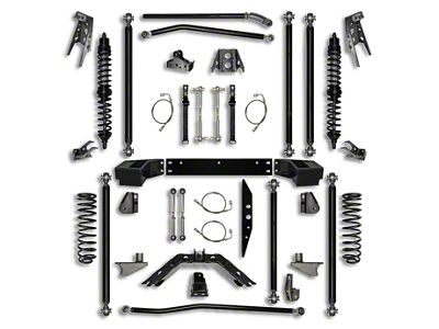 Rock Krawler 4.5 in. Off-Road Pro Coilover Long Arm Suspension Lift Kit w/ 6 in. Stretch - Stage 1 (07-18 Jeep Wrangler JK 2 Door)