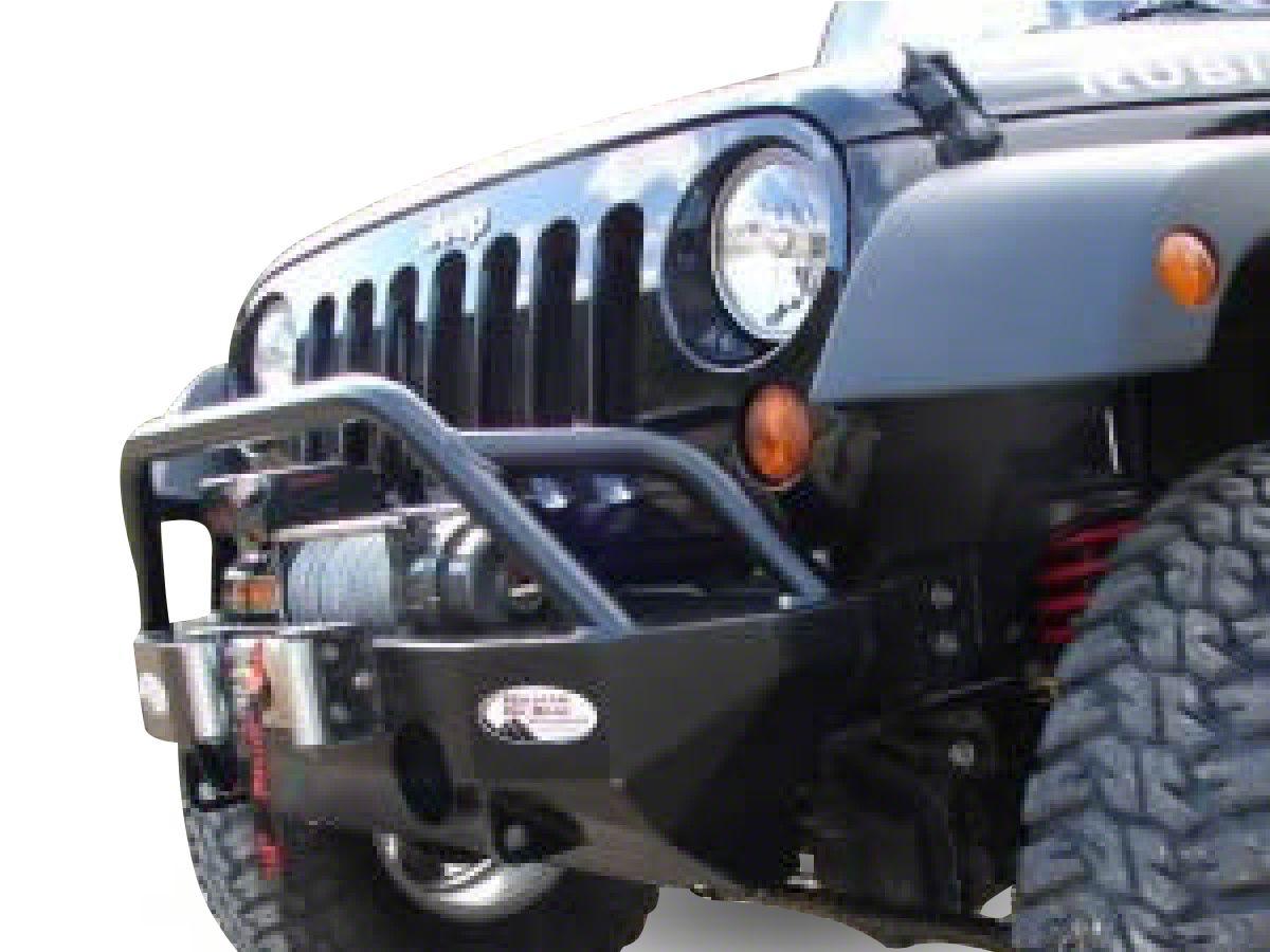 M.O.R.E. Rock Proof Front Bumper w/ Tube Work - Black (07-18 Jeep Wrangler JK)