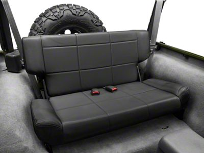 Smittybilt Vinyl Fold & Tumble Rear Seat - Black Denim (97-06 Jeep Wrangler TJ)