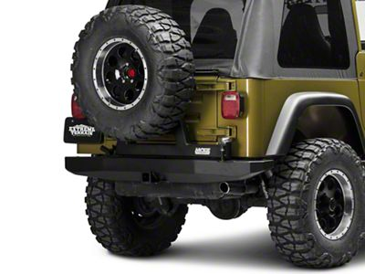 M.O.R.E. Rock Proof Rear Bumper w/ Tire Carrier - Black (97-06 Jeep Wrangler TJ)