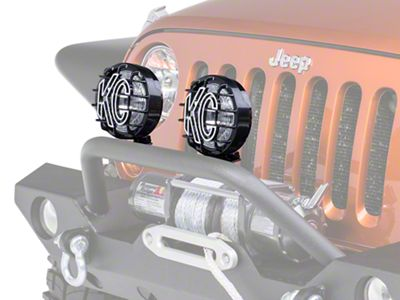 KC HiLiTES 6 in. Black SlimLite Halogen Lights - Spread Beam - Pair (87-19 Jeep Wrangler YJ, TJ, JK & JL)