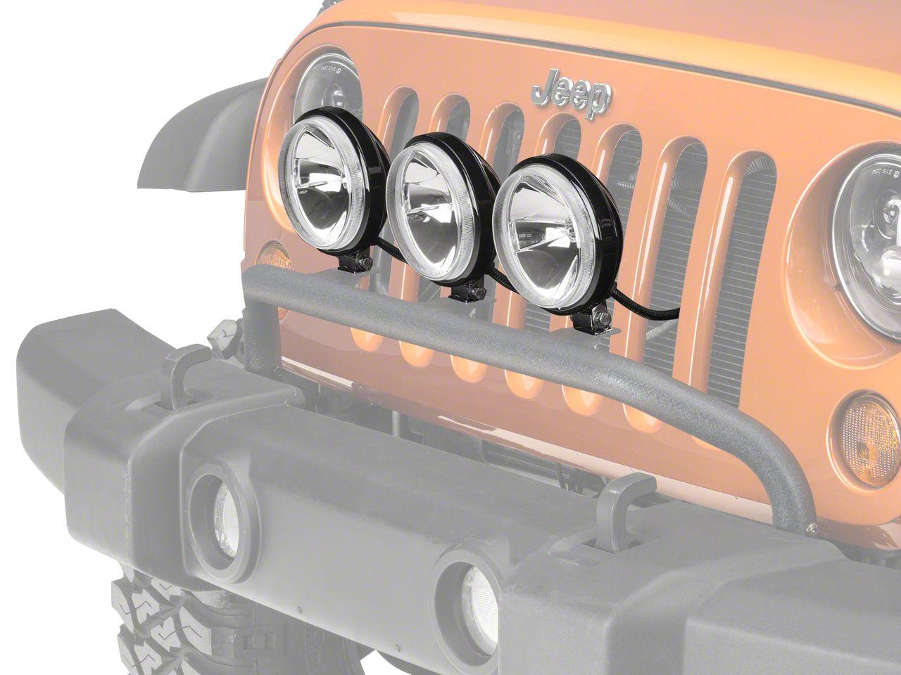 Rugged Ridge 5 in. Round Halogen Off-Road Fog Lights w/ Front Bumper Light Bar (07-18 Jeep Wrangler JK; 2018 Jeep Wrangler JL)