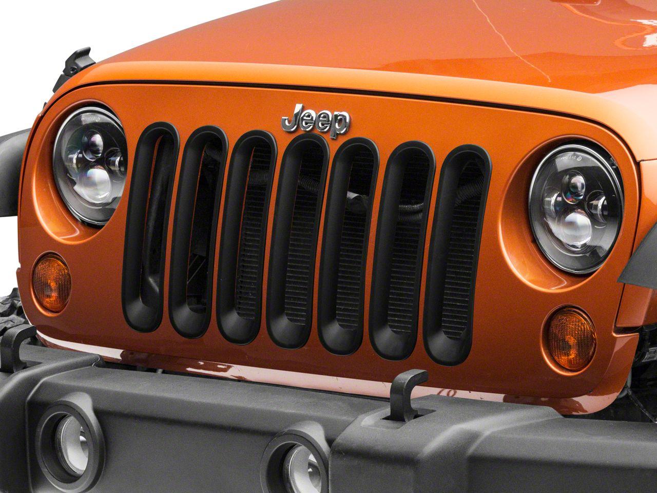 RedRock 4x4 Grille Inserts - Matte Black (07-18 Jeep Wrangler JK)
