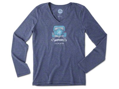 Life is Good Women's Go Places Long Sleeve V-Neck T-Shirt - Blue