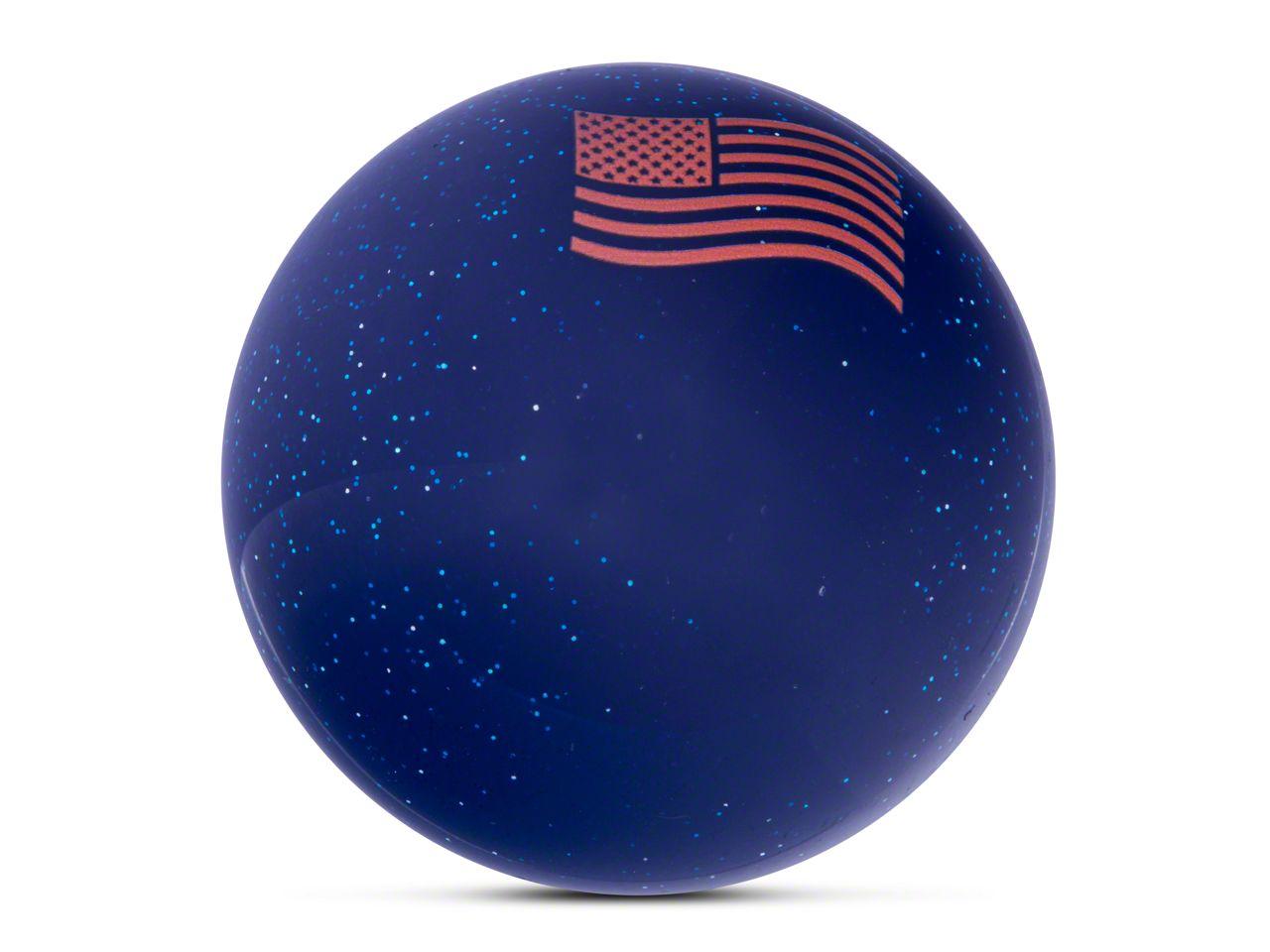 RedRock 4x4 Orange American Flag Waving Blue Shift Knob with Metal Flake (87-18 Jeep Wrangler YJ, TJ & JK)