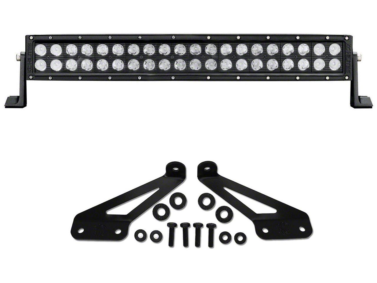 KC HiLiTES 20 in. C-Series C20 LED Light Bar w/ Hood Mounting Brackets (07-18 Jeep Wrangler JK; 2018 Jeep Wrangler JL)