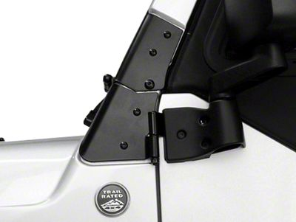 Rugged Ridge Black Windshield Hinge - Pair (97-06 Jeep Wrangler TJ)