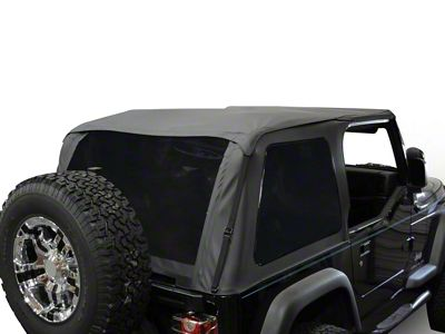 RT Off-Road Bowless Soft Top w/ Tinted Windows - Black Diamond (92-95 Jeep Wrangler YJ)