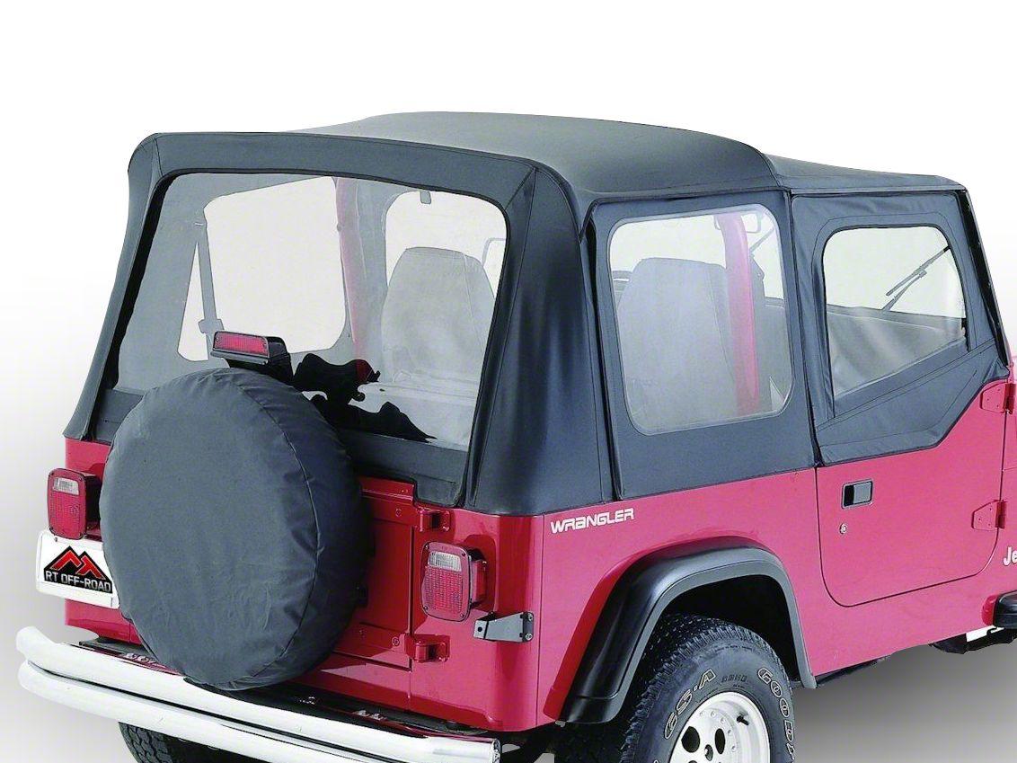 RT Off-Road Complete Soft Top w/ Clear Windows - Black Diamond (87-95 Jeep Wrangler YJ w/ Half Steel Doors)