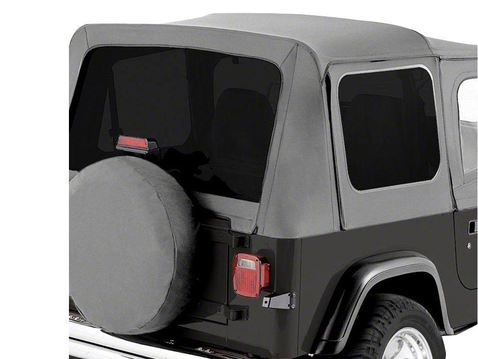 RT Off-Road Complete Soft Top w/ Clear Windows - Gray Denim (87-95 Jeep Wrangler YJ w/ Half Steel Doors)