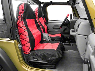 RT Off-Road Front Seat Covers - Black/Red (87-02 Jeep Wrangler YJ & TJ)