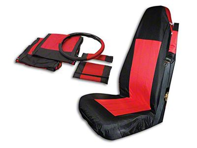RT Off-Road Front Seat Covers - Black/Red (03-06 Jeep Wrangler TJ)