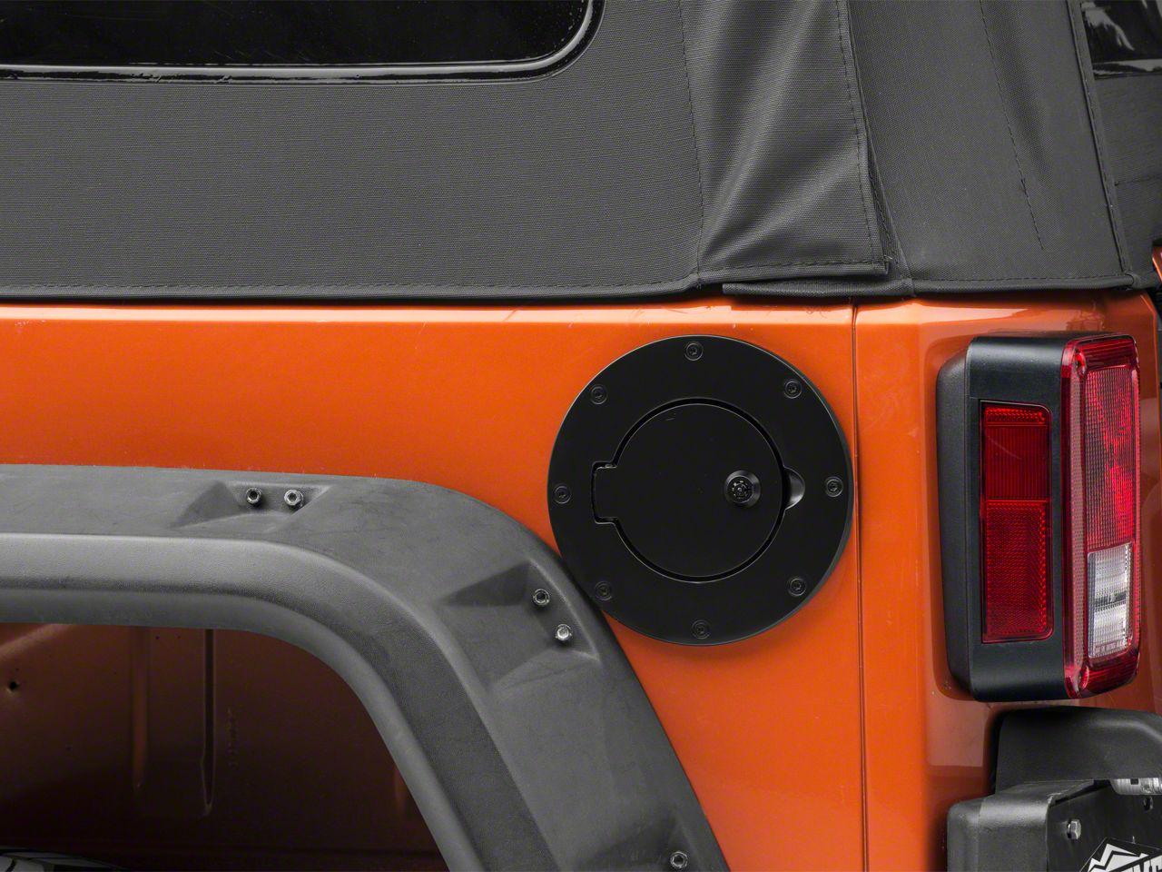 RT Off-Road Locking Fuel Door - Black (97-06 Jeep Wrangler TJ; 07-18 Jeep Wrangler JK 4 Door)