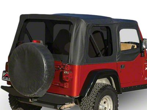 RT Off-Road OEM Replacement Soft Top w/ Tinted Windows & Door Skins - Black Denim (97-06 Jeep Wrangler TJ w/ Half Steel Doors, Excluding Unlimited)