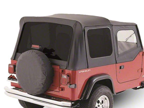 RT Off-Road OEM Replacement Soft Top w/ Tinted Windows & Door Skins - Black Denim (88-95 Jeep Wrangler YJ w/ Soft Upper Doors)