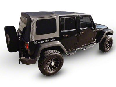 RT Off-Road OEM Replacement Soft Top w/ Tinted Windows - Black Diamond Sailcloth (07-09 Jeep Wrangler JK 4 Door w/ Full Steel Doors)