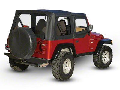 RT Off-Road OEM Replacement Soft Top w/ Windows & Door Skins - Black Denim (97-06 Jeep Wrangler TJ w/ Soft Upper Doors, Excluding Unlimited)