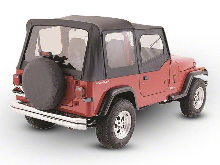RT Off-Road OEM Replacement Soft Top w/ Windows & Door Skins - Black Denim (88-95 Jeep Wrangler YJ w/ Soft Upper Doors)