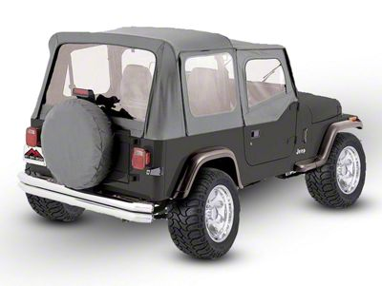 RT Off-Road OEM Replacement Soft Top w/ Windows & Door Skins - Gray (88-95 Jeep Wrangler YJ w/ Soft Upper Doors)
