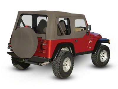 RT Off-Road OEM Replacement Soft Top w/ Windows & Door Skins - Khaki (97-06 Jeep Wrangler TJ w/ Soft Upper Doors, Excluding Unlimited)
